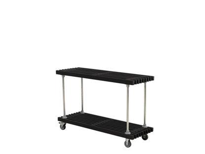Plus rollbarer Latten Grilltisch - Anrichtetisch Kiefer-Fichte schwarz 138 cm