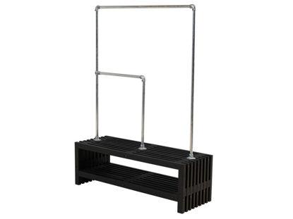 Plus Rustik Trallebank mit Schuhregal und Doppelgarderobe Kiefer-Fichte schwarz 138 cm