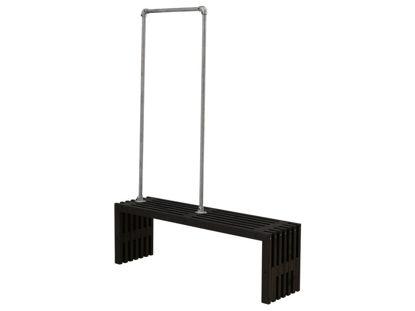 Plus Rustik Trallebank mit Garderobe Kiefer-Fichte schwarz 138 cm