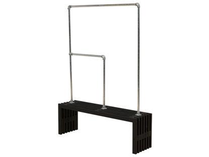 Plus Rustik Trallebank mit  Doppelgarderobe Kiefer-Fichte schwarz 138 cm