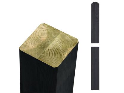 Plus Premium Leimholzpfosten Rundkopf 128 cm NTR-A 9 x 9 cm schwarz farbgrundiert