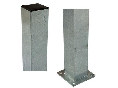 Plus Stahlpfosten verzinkt mit Fuss 8 x 8 x 186 cm