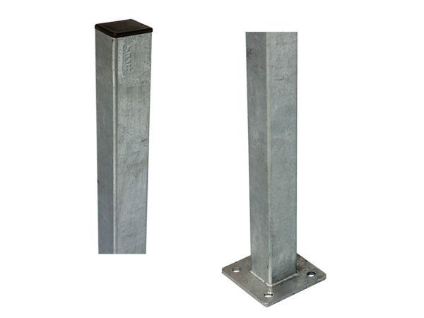 Plus Stahlpfosten verzinkt mit Fuss 132 x 4,5 x 4,5 cm
