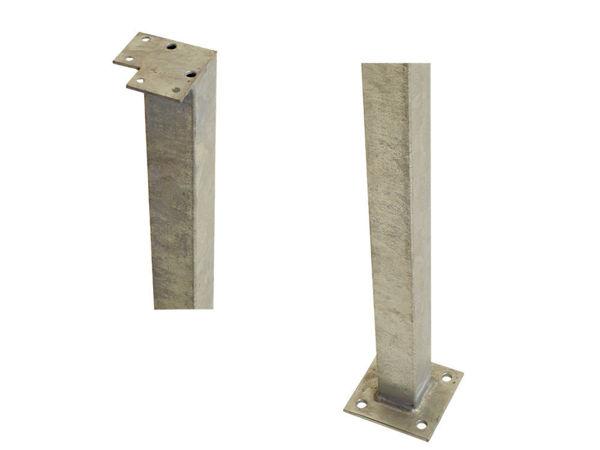 Plus Stahl-Eckpfosten quadratisch mit Fuss  4,5 x 4,5 x 103,3 cm für Handlauf