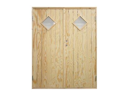 Vibo Doppel-Nebeneingangstür mit Rautenfenster und Zarge 151,2 x 197,8 cm