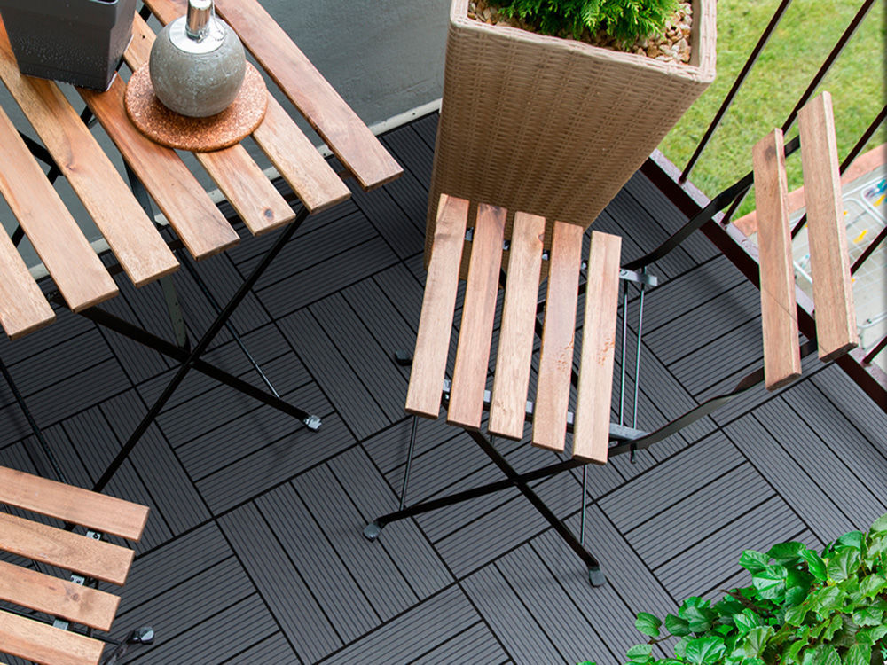Plus WPC Terrassenfliesen 30 x 30 x 2,2 cm
