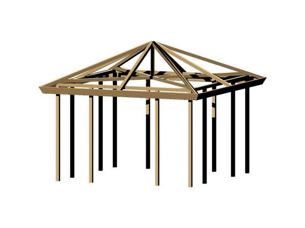 Plus Pavillon Grundbausatz ohne Dach und Fußboden 387 x 387 x 294 cm druckimprägniert