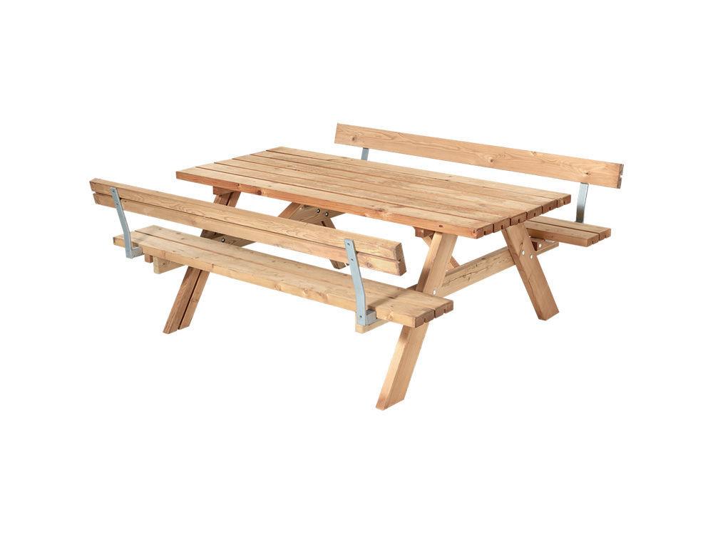 Plus Kombimöbel mit Klappsitzen und 2 Rückenlehnen Lärche unbehandelt 177 cm