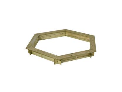 Plus Sandkasten 6-eckig druckimprägniert mit umlaufenden Sitzflächen d= 165 x 26 cm
