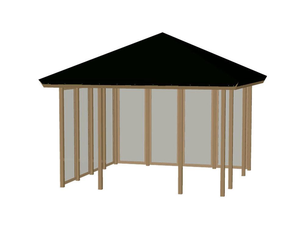 Plus Pavillon mit Dachplane, 2 Seiten geschlossen mit Ornamenten druckimprägniert