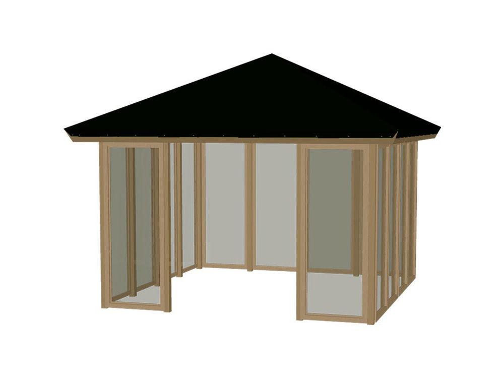 Plus Pavillon mit Dachplane, geschlossen ohne Schiebetür druckimprägniert