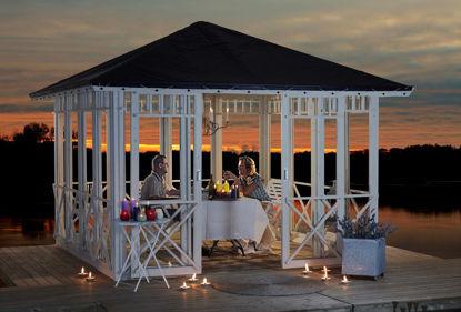 Plus Pavillon mit Dachplane, geschlossen mit doppelter Schiebetür u. Ornamenten druckimprägniert